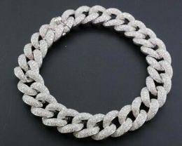 "Wholesale Diamond Round Cut - Miami Cuban Diamond Bracelet Mens 14K White Gold 8"" Pave Round Cut 10.56 Ct."