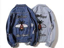 Wholesale Top Hip Hop Jeans Brands - Bees Embroidery Denim Jeans Jackets Loose Mens Brand Hip Hop AAPE Jackets Coat Harajuku Holes Top Denim Veste Homme MA1