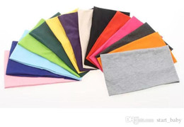 Wholesale Headbands Sports Solid Color - Women Plain Wide Yoga Sport Fabric Bandanas Stretch Elastic Headbands 24cm*14cm Fashion Hair Accessories Turban 14 Color