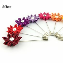 Wholesale Wholesale Fabric Brooches - BoYuTe Hot 5Pcs Lapel Flower Pin 16 Colors Fabric Flower Brooch Wholesale Fashion Rhinestone Men Brooch Wedding Jewelry