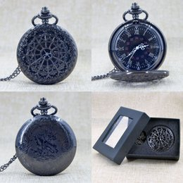 Wholesale Snowflakes Pocket Watch - Wholesale-Cool Black Dial Antique Large Snowflakes Quartz Pocket Watch Pendant Necklace Wonderful Men Woemn Gift Watch With Box P017B