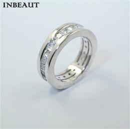 Wholesale 925 Rings For Girl - INBEAUT Luxury Brand 925 Silver Square ZirconLetter Wedding Rings for Lovers Women Trendy Engagement Finger RingTeen Girls Jewelry