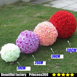 Wholesale Wholesale Kissing Balls New - 18cm Artificial Silk Rose Pomander Flower Balls Wedding Party Bouquet Home Decoration Ornament Kissing Ball New 99029-5