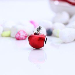 Wholesale Light Green Bracelet - Authentic 925 Silver Beads Snow White's Apple Charms, Red Enamel & Light Green CZ Fits European Style Jewelry Bracelets