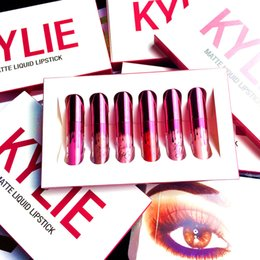 Wholesale Valentine Packaging - Kylie Cosmetics Lip Kit Vixen Merry Holiday Edition 1pcs Matte Liquid Lipstick 1pcs Lip Liner limited Edition Silver Package Valentine Gift