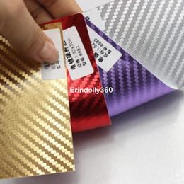 Canada 152 * 30CM 3D En Fiber De Carbone Vinyle De Voiture Enveloppe En Aluminium Autocollant De Voiture Décoration Or / Argent / Rouge / Violet autocollants galvanisés Car Styling Offre