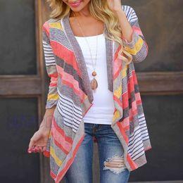 Wholesale Asymmetrical Batwing - Wholesale-New Women Tops Fashion Long Cardigan Female Stylish Collarless Long Sleeve Cardigan Tribal Print Asymmetrical Cardigan