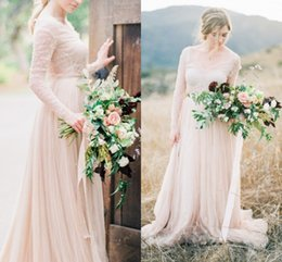 Wholesale France Country - Vintage Country Style Wedding Dresses With Lace Long Sleeves V Neck Tulle Pleats Wedding Gowns For France Bride Illusion Bodice Bridal Gowns