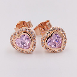 valentine gift jewelry Promo Codes - Valentines Day 925 Silver Beads Sparkling Love, Pandora Rose Pink Fits European Pandora Style Jewelry 280568PCZ Rose Gold Plated Studs