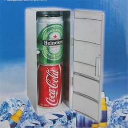 Wholesale Power Drinks - Wholesale- Mini Fridge Beverage Drink Cans Portable Cooler Warmer Fridge Refrigerator USB Fridge Cooler Power for Laptop PC USB Gadgets