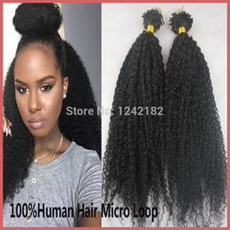 Wholesale Curly Micro Loop Hair Extensions - Wholesale-2016 New Sale Natural Black Micro Loop Ring Hair Extensions 100S 100g Grade 7a Unprocessed Virgin Brazilian Kinky Curly Hair