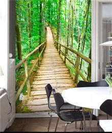 Wholesale Nature Pictures Wallpapers - 3d room custom wallpaper photo non-woven mural picture Nature forest woods bridge decoration painting wallpaper for walls 3 d