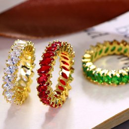Wholesale Yellow Gold Diamond Eternity Ring - Top quality 18K yellow gold thick plated zirconia CZ diamond eternity finger rings for women