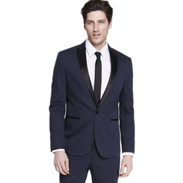 Wholesale White Tailored Mens Tuxedo - Tailor made men's suits Slim Fit Groom suits Tuxedos Navy bule Mens Wedding Best Man dress suits (Jacket+Pants)