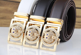 Wholesale Lion Buckle - 2017 new hot designer belts men high quality solid brass buckle luxury real full grain leather lion ceintures eagle