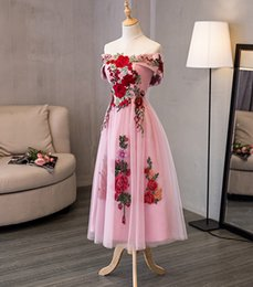 Wholesale Sexy Hunter Costumes - Real Photo Off Shoulder Lace Tulle Pink Prom Dresses Tea Length Evening Dress 2017 Banquet Homecoming Gowns 8 Grade Graduation Gown Costume