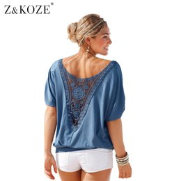 Z&KOZE Womens Hollow out Stitching Lace Summer T Shirt Fashion Loose tops  Lady Lace Top t-shirt Sexy Tee Tops plus size q170691