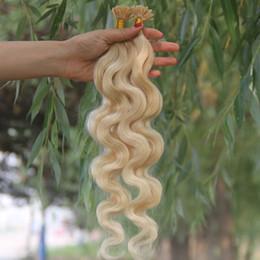 Wholesale Extensions Flat Tip - JUFA Pre Bonded Flat Tip Human Hair Extensions Peruvian Virgin Hair Body Wave Keratin Hair Extensions #613 Bleach Blonde 8''-30''