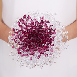 Wholesale Mirror Garlands - Luxury Gorgeous Crystals Artificial Wedding Bouquets Acrylic Crystal Garland Blingbling Wedding Bridal Holding Brooch Bouquet Handmade BOA