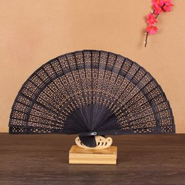 Wholesale fragrance supplies - Chinese Japanese Sandalwood Folding Hand Fan Fragrance Wooden Fans Wedding Favor And Gift For Guests Free Shipping ZA3481