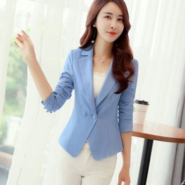 f88354ce6a4 Women Slim Blazer Long Sleeve Solid Color One Button Formal New Design Plus  Size Jackets Office Ladies Work Wear Blaser