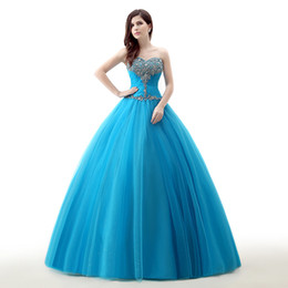 Wholesale Sweet 16 Feather Gown - Vestido De 15 Anos Debutante Gowns Sweet 16 Ball Gowns Cinderella Quinceanera Dresses Princess Turquois Quinceanera Dresses