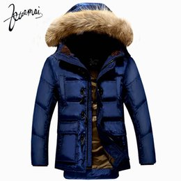 2021 кнопка звукового сигнала  Wholesale- KUAMAI New Men Down Coat  Clothing Winter Jacket Men Nagymaros Collar Warm Snow Horn Button Duck Down Jacket Men XXXL