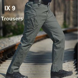 Büyük indirim! Elastik Pamuk IX9 Taktik Kargo Açık Pantolon Erkekler Savaş Yürüyüş Ordu Eğitim Taktik Pantolon Avcılık Açık Havada Spor Pantolon nereden