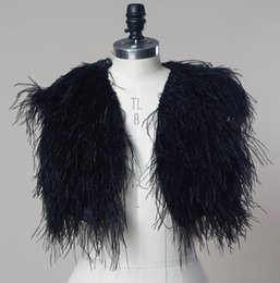Wholesale Cheap White Ostrich Feathers - 2018 Cheap Hairy Ostrich Feather Black Bridal Bolero Fur Coat Jacket Wedding Jacket Real Photo Women Formal Winter Outerwear Custom Made