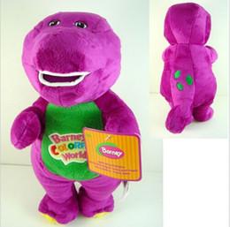 "Wholesale Dinosaur Plush - hot new 11""30cm Barney The Dinosaur Sing "" I LOVE YOU"" Song Purple Dinosaur Plush Toys Doll For Children Free Shipping"
