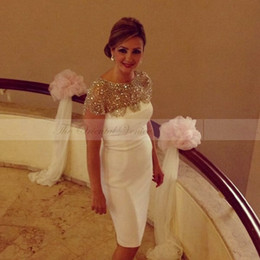 Wholesale Pink Sparkly Cocktail Dresses - Sparkly Crystal Beaded White Short Cocktail Dresses 2017 Cheap Knee Length Prom Dresses Party Gowns For Women