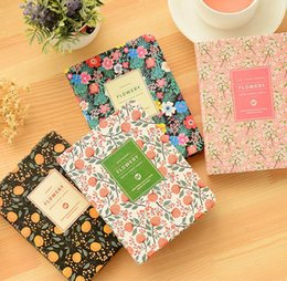Wholesale Calendar Notebook - Korean Cute PU Leather cover Floral Flower Schedule Book Diary Weekly Monthly Planner Organizer Notebook Kawaii Calendar