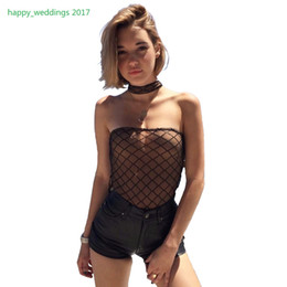 Wholesale Casual Strapless Black Jumpsuit - 2017 Strapless Black off shoulder sexy bodysuit Women jumpsuit romper lining Mesh bodycon Black women overalls Skinny bodysuits
