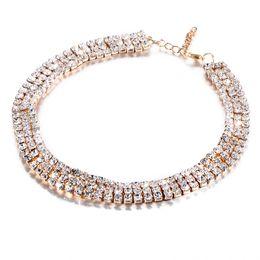 Wholesale Diamante Collars - Hot European and American black PU Fashion Jewelry Full Paved Diamond DiamanteVintage RhinestoneChokerCollar Necklace Women