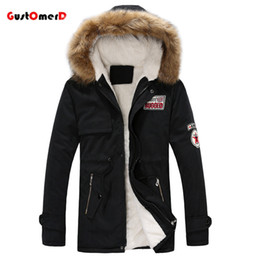 Wholesale vintage down jacket - Wholesale- GustOmerD Brand Warm Winter Jacket Men Fur Collar Long Style Lovers Slim Fit Winter Jacket Men Fashion High Quality Men Clothes