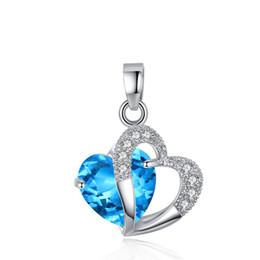 925 Sterling Silber überzogene blaue Kristall Edelstein Amethyst Herz Anhänger Geschenk von Fabrikanten