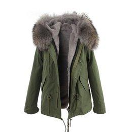JAZZEVAR forro de piel gris 100% forro de piel de conejo ejército lienzo corto parkas de piel chaquetas de invierno abrigos de nieve como mrs estilo desde fabricantes