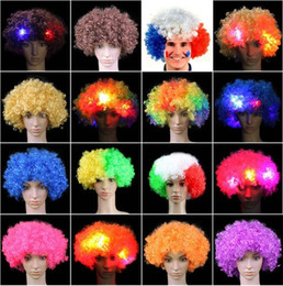 Wholesale Colorful Wigs Wholesale - New LED Wig Luminous Wig headgear Halloween Decoration Colorful Party Headgear Wig Cosplay performance supplies IA682