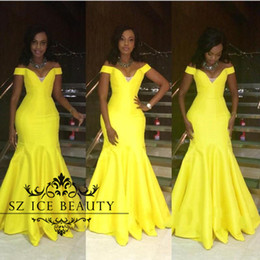 Wholesale African Tea - Bright Yellow Off Shoulder Prom Dress With Sleeves Mermaid Floor Length Long Sexy African Brazil Women Party Evening Gown 2017