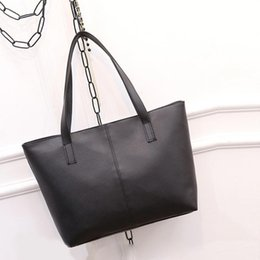 Wholesale Larger Women - NEW Pure Color Women Larger Capacity Handbag Daily Shoulder bag Simple Casual Tote Hobo bag Lady Leather Bag