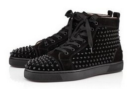 Wholesale Cube Shoes - 2017Hot sale Unisex Apartments Shoes Men Unisex Black Leather Spikes Spikes studded Brand Cube Red Bottom male Casual Shoes