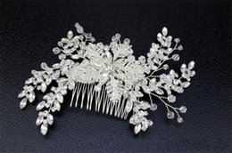 Wholesale Pearl Stick Pins - Vintage Bridal Crystal Hair Comb Rhinestone Headpiece Wedding Flower Hair Accessories Clips Silver Headdress Party Prom Jewelry Pins Lot