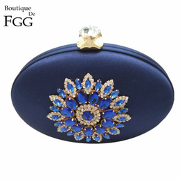 Wholesale Evening Clutch Handbags Satin - Wholesale-Women's Fashion Crystal Metal Flower Appliques Navy Blue Evening Clutch Bag Wedding Party Cocktail Prom Handbag Clutches Purse