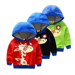 Wholesale Giraffe Girls - Wholesale- 2-6T Autumn Winter Thick Warm Fleece Giraffe Sweatshirts for Girls Boys Hoody Svitshot Sweaters Children Pullover Red Black L65