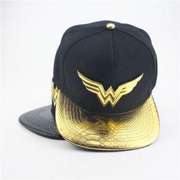 Wholesale Halloween Gold Costume - Adult Unisxe Wonder Woman Logo Printed Dome Hats Halloween Cosplay Costumes Superhero Cosplay Hats Black Canvas Peaked Cap