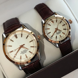 Wholesale Leather Luxury - A piece lot Fashion Luxury Man Women leather Watch Famous designer Stainless Steel Sexy Lady Watch High Quality Famous Brand Quartz Clock