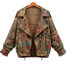 Al por mayor-Moda Otoño Invierno mujer Chaqueta de camuflaje Ejército Verde de manga larga chaquetas de mezclilla delgada con cremallera de la flor de las capas de impresión desde fabricantes