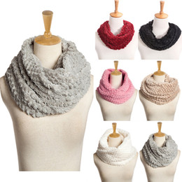 Wholesale Womens Knitted Scarves - Wholesale-Knitted Women Scarf Soft Warm Fleece 2 Circles O Ring Scarves Cashmere Shawl Womens Winter Scarf Luxury Brand Collar Neck Warmer