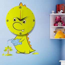 Wholesale Decorate Vinyl - Creative DIY 3D Dinosaur Shape Wall Clocks Kids Room Ideas Interior Decorating Vinyl Owl Wall Art Cartoon Clock For Kids Room
