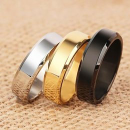 Anéis de noivado lisos on-line-Moda jóias homens e mulheres 8mm titanium aço Suave 24 K banhado anel de noivado de casamento de alta qualidade 3 cores anel de aço inoxidável 316